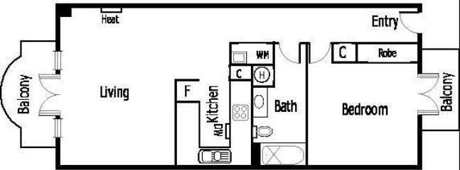 St Kilda serviced apartment - Floorplan of Tuscany showing both balconies