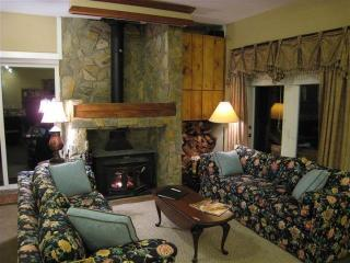 Large stone fireplace and living room