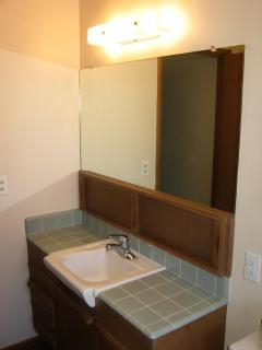 Shared bath with original vanity