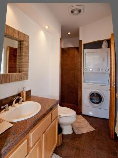 2nd bathroom with EFFICIENT WASHER AND DRYER