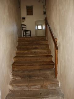Our lovely old stone and oak staircase taken from the hall