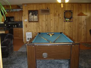 Our pool table has every thing you need to shoot a game of pool, dart board come with darts.
