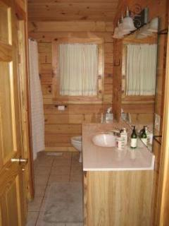The bathroom has a tub/shower as well as a full-sized washer and dryer.