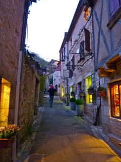 Strolling through the village at dusk.