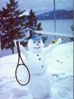 Snowman Playing Tennis