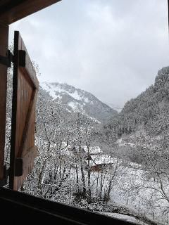 View of valley and Linga ski area from living room