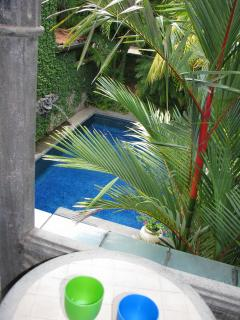 Looking down to the pool from the second floor balcony