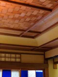 Original hand-woven wood detailing on ceiling of livingroom