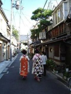 Our little street, with geishas (a common sight)