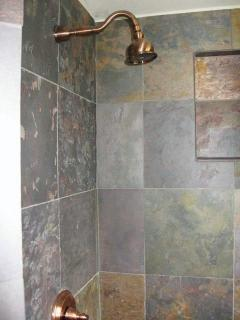 Slate shower in downstairs bath