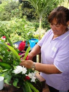 Say it with Flowers!  Mama Terii working her magic - doing flower arrangements!