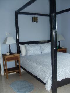 Master bedroom with bamboo queen size canopy bed