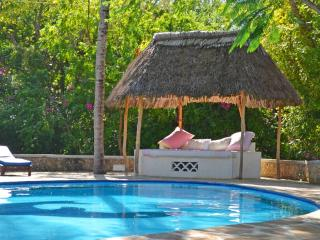 A cosy double bed with makuti roof overlooks the pool