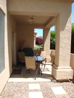 View of covered, private outdoor patio.