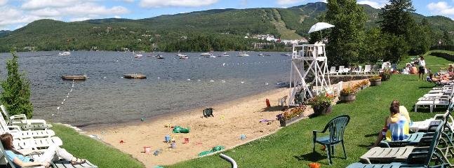 Pinoteau's private beach, best location at Tremblant!