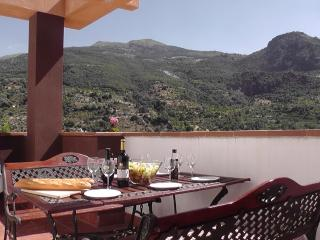 Eating on the terrace with stunning views