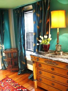 Bedroom Empire Chest & Italianate lamp