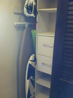 Iron/Ironing Board, Boogie Board, Pool Noodles, closet storage systems.