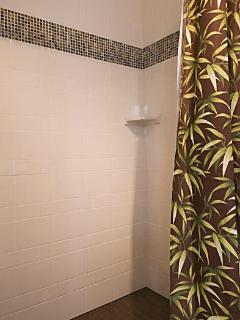 New, lovely, step-in tile shower