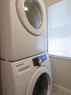 Large capacity Maytag washer and dryer - new! in separate laundry room