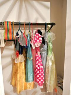 Closet is stocked with princess dresses in several sizes. Feel free to dress up to the park!