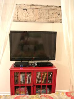 Flat screen TV, books & movies & the den / extra sleeping room