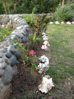 stone wall and plantings