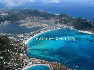 Aerial view of Philipsburg, the Villa is directlyleft of the V in Villas