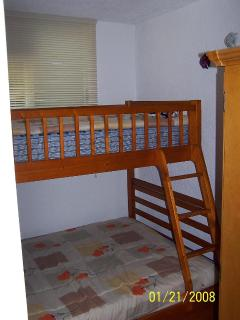 2nd. Bedroom (small) with double bed and upper bunk bed for a child.