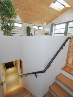 the stairs to the living room