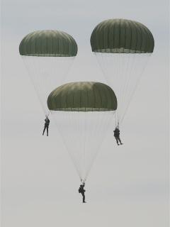 parachutists 6th June week over Ste Mere Eglise © Mike Forster