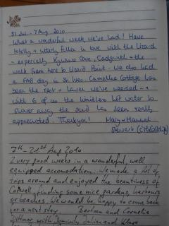 Photo's of Camellia Cottage Visitors Book