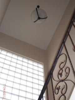 Looking upwards of block window with lots of natural light.
