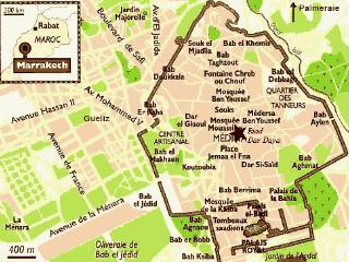 The Riad / house is centrally located