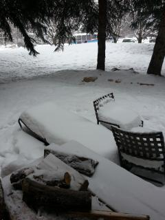 Front Deck in winter...free firewood !