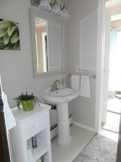 Main bathroom with shower,separate toilet area and claw foot tub on private deck overlooking harbour