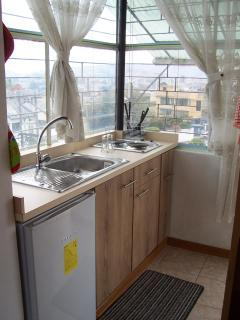 Kitchen with a great view of the Andes and south of Quito