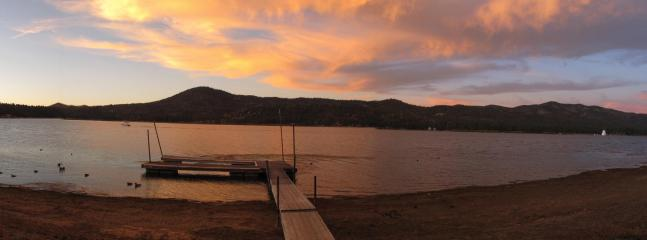 Beautiful panoramic view of Big Bear Lake from back deck