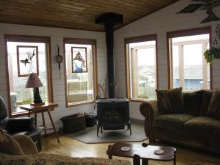 cozy woodstove in living room