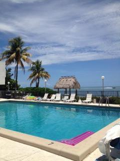 Oversized heated pool overlooking the Atlantic ocean.