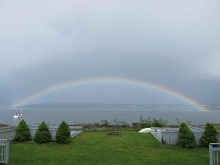 View - rainbow over water