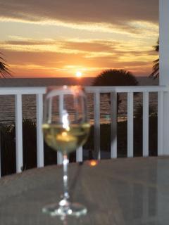 Sunset with fine wine