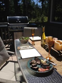 Grill on front deck makes incredible summer dinners under the stars!