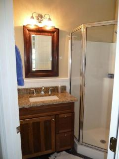 Master bedroom bathroom with granite vanity top and atrium shower