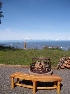 Campfire rings with ocean & volcano views