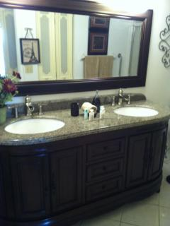 Master Bath with Solid wood, Triple Edge solid Granite, French and English Hand detailing
