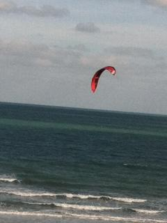 Kiteboarding in front of you