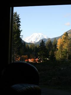 Autumn view of Mt. Rainier through cathedral windows
