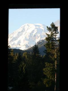 View of Mt. Rainier through window in master