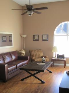 The main floor living space is open concept with cathedral ceilings.